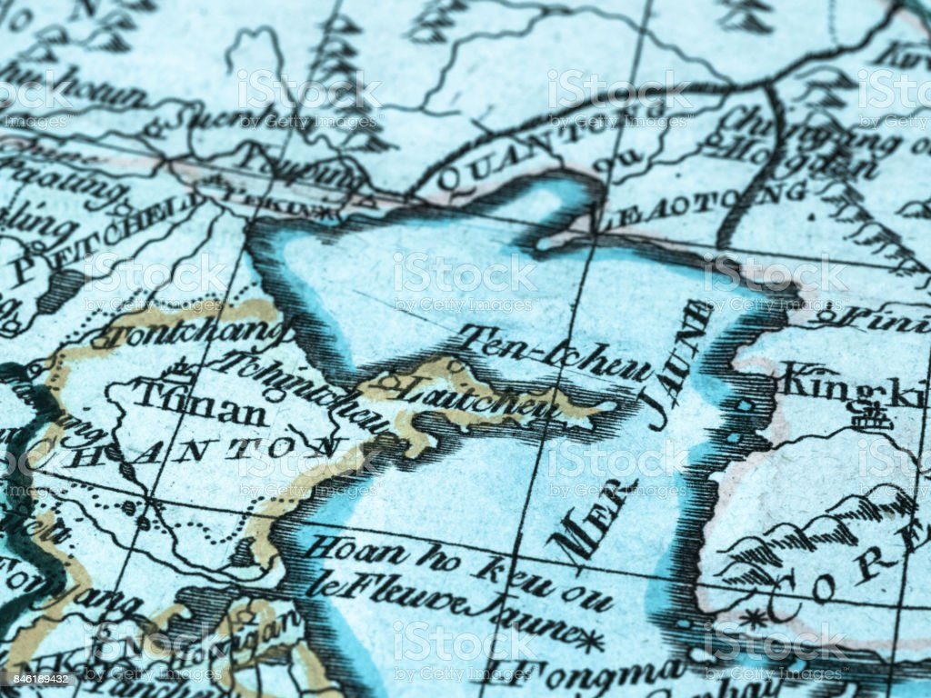 Map Of Asia Yellow Sea.Old Map Yellow Sea Stock Photo Download Image Now Istock