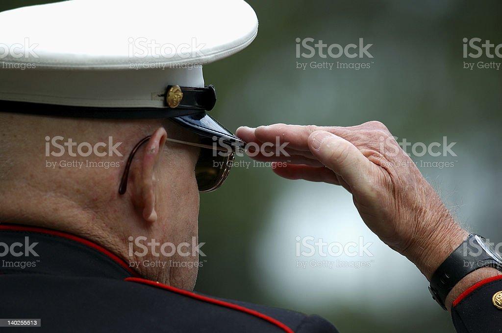 Old Marine Salutes stock photo