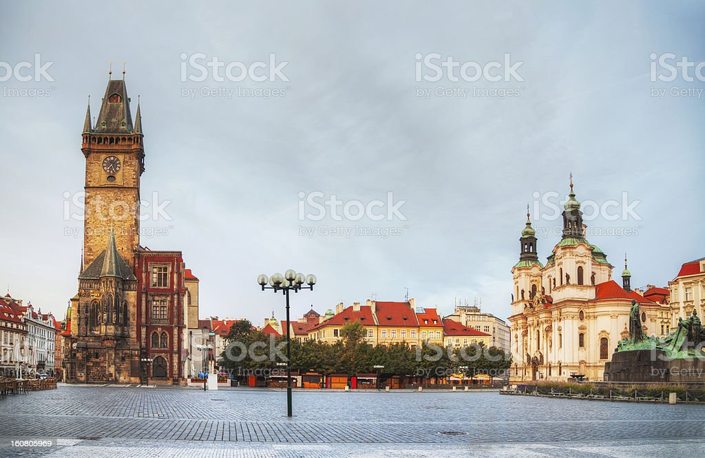 Old market square in Prague at sunrise royalty-free stock photo