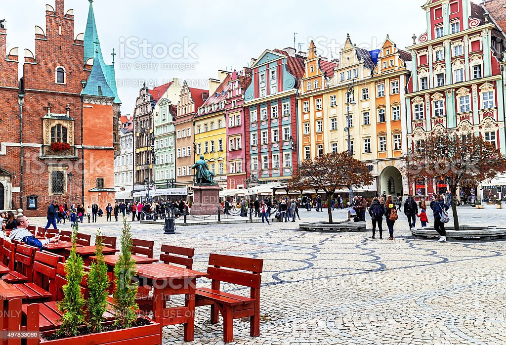Wroclaw, Poland - October 17, 2015: Old market square. stock photo