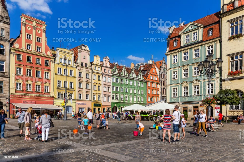 Old market square with tourist in Wroclaw, Poland stock photo