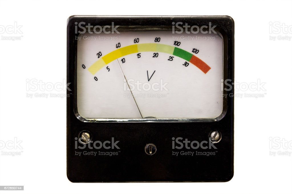 Old measuring instrument on white stock photo