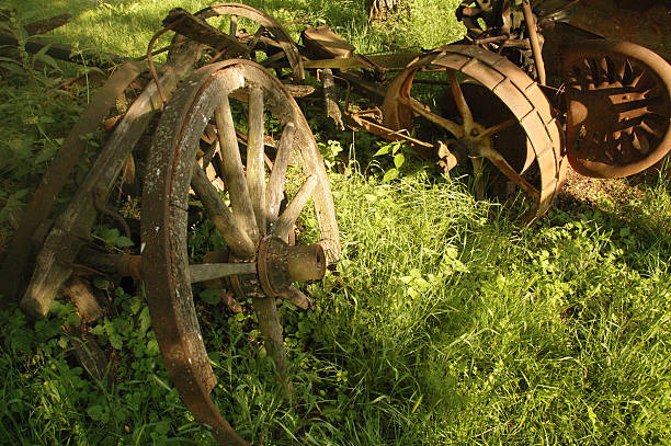 Old mechanism used at farm stock photo