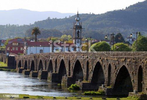 Old medevial bridge of Ponte de Lima on a sunny afternoon