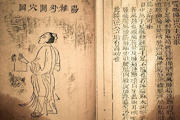 alte medizin buch aus der qing-dynastie - chinesische zeichen tattoos stock-fotos und bilder