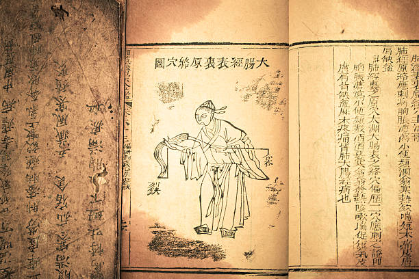 old medicine book from qing dynasty - chinese writing 個照片及圖片檔