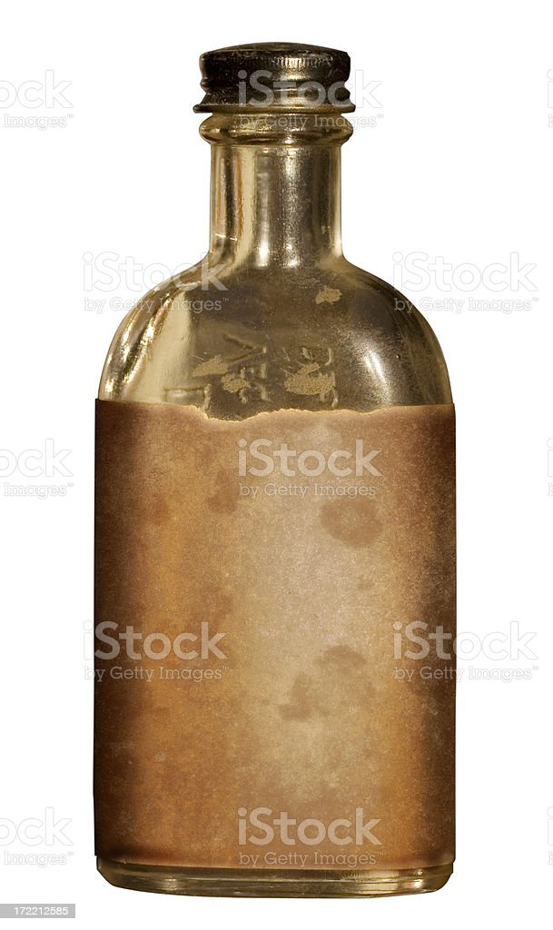 Old Medicine Bottle with Blank Grungy Label stock photo