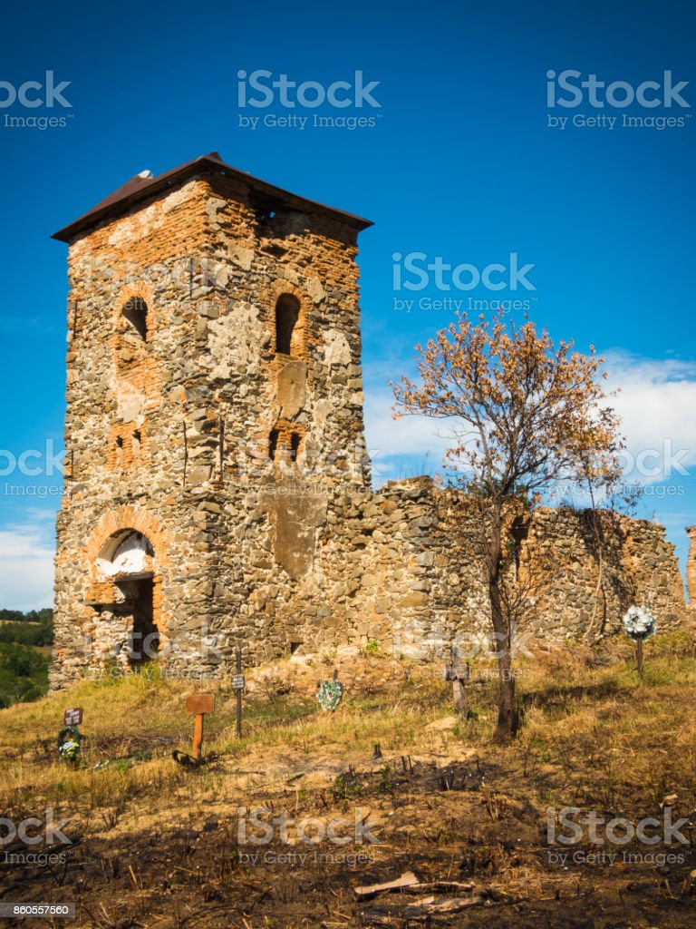 Old medieval abandoned church ruins stock photo