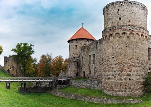 Old medieval castle ruins in Cesis, Latvia