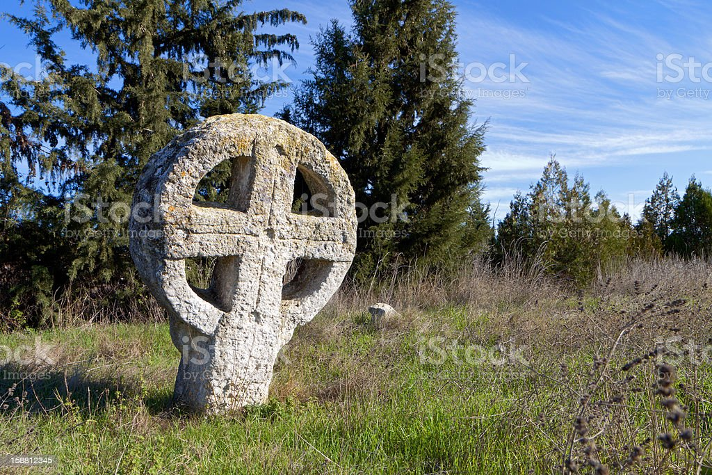 Old medieval cemetery in Europe stock photo