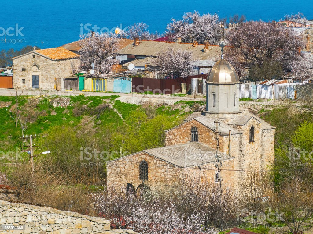 Old medieval Iverian church in Feodosia, Crimea stock photo