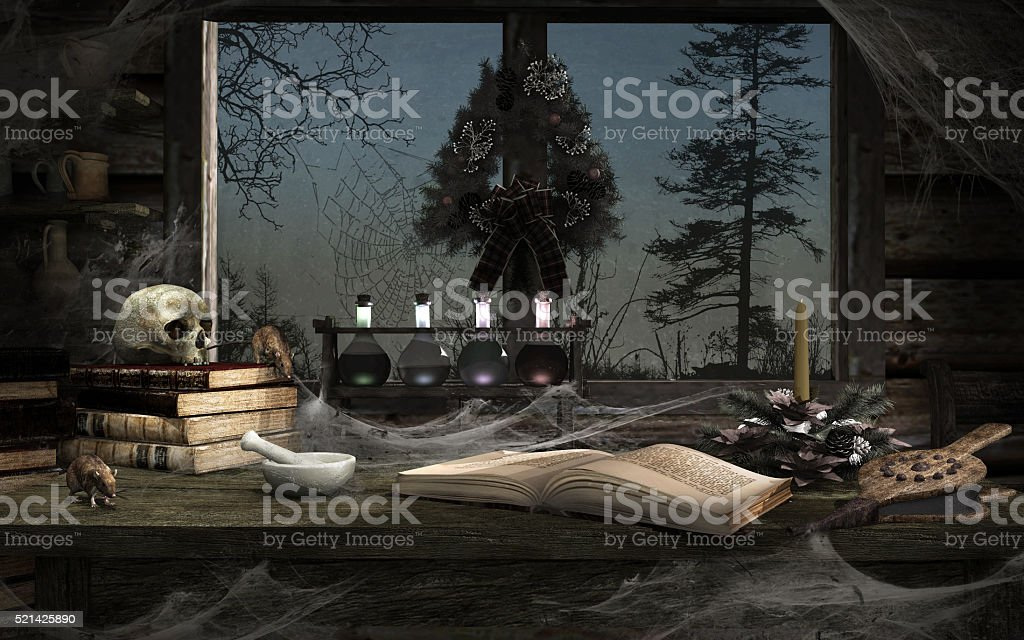 Old medieval room with christmas decoration stock photo