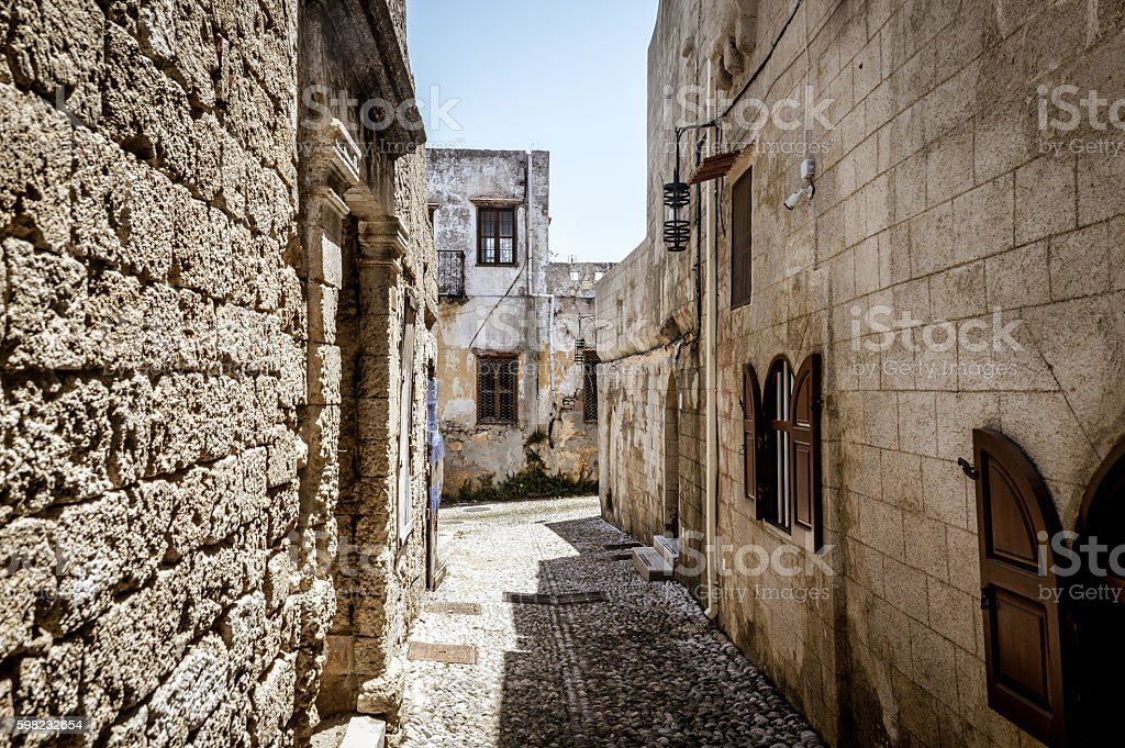Old medieval streets in Rhodes, Greece foto royalty-free