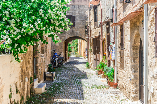 istock Old medieval streets in Rhodes, Greece 598232782