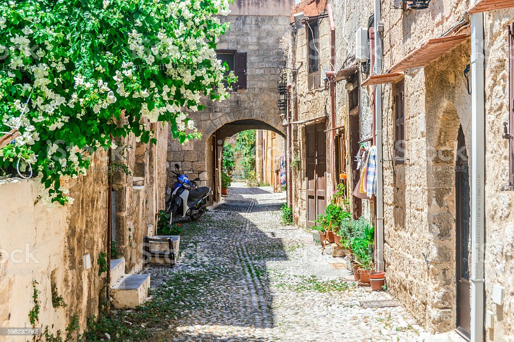 Old medieval streets in Rhodes, Greece stock photo