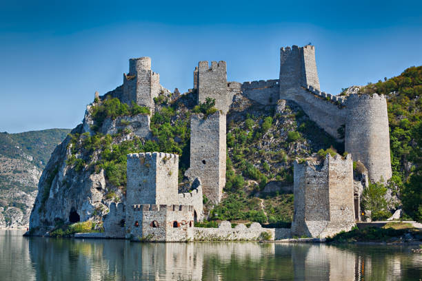 old medieval the golubac fortress, serbia in september 2009 - serbia stock photos and pictures