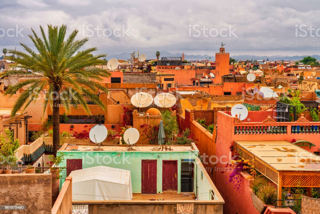 Old Medina district of Marrakech, Morocco stock photo