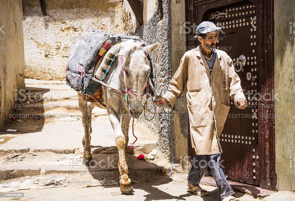Old Medina, souk of Fes, Marocco. stock photo