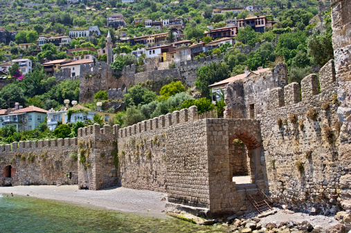 Old Mediterranean Town Behind Fortress Wall Near the Sea