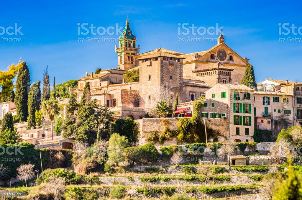Old mediterranean village of Valldemossa on Majorca island, Spain stock photo