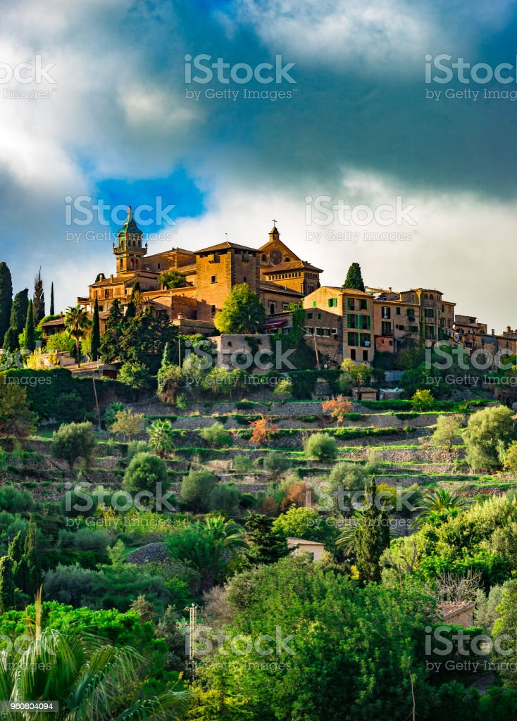 Old mediterranean village Valldemossa on Majorca island, Spain stock photo