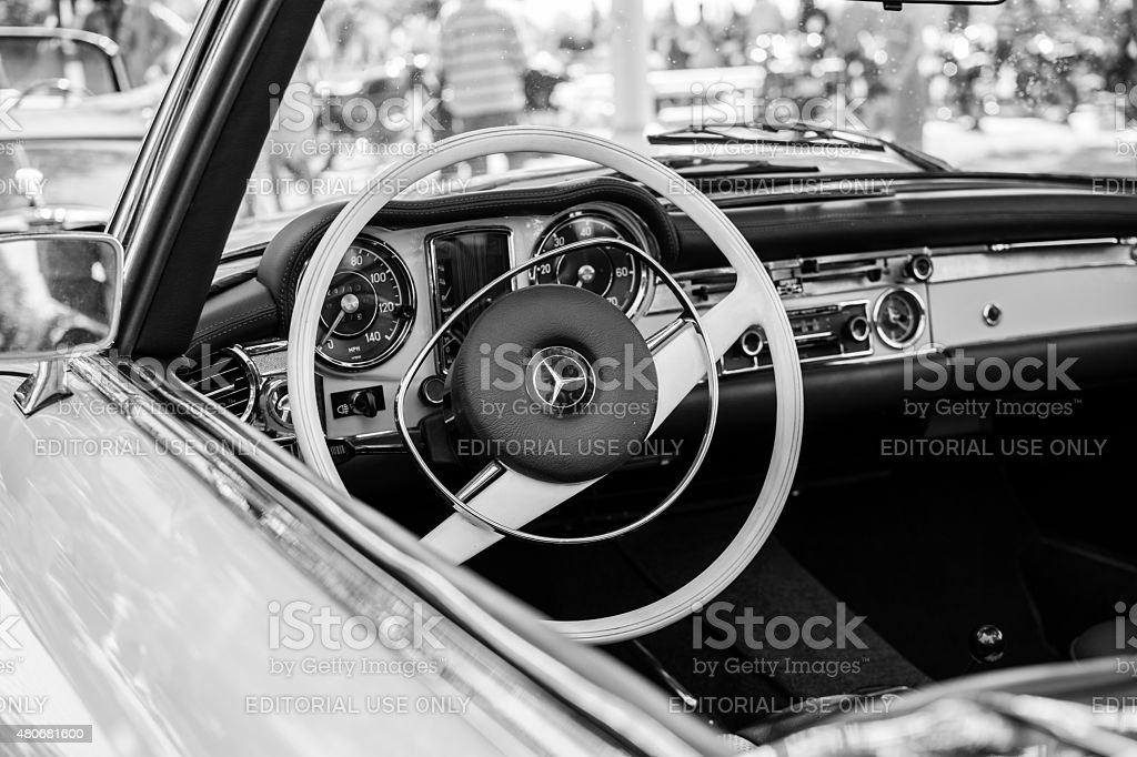 Old Mercedes SL car on annual oldtimer car show stock photo