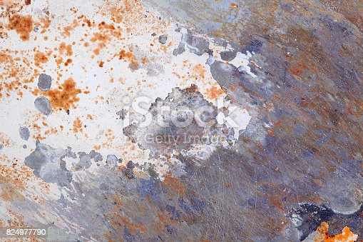 istock Old metal background with rusty stains 824977790