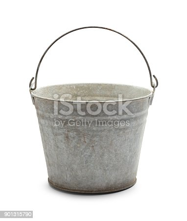 Empty Vintage Steel Bucket Isolated on White Background.