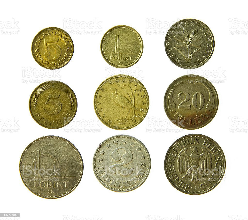Old metal coins stock photo