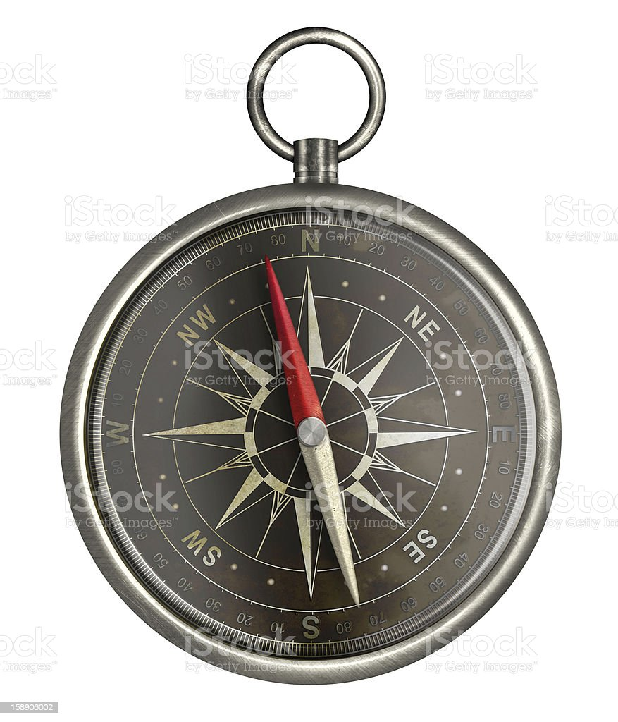 old metal compass with dark face isolated on white royalty-free stock photo
