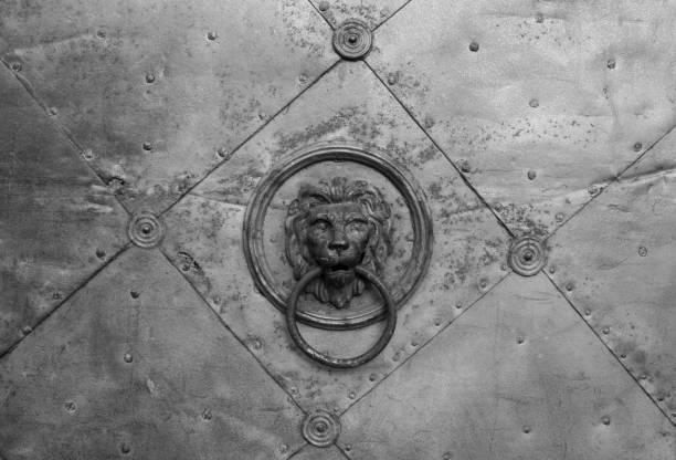 altes metalltürdetail mit löwenkopf, in graz, österreich - eisenstadt austria stock-fotos und bilder
