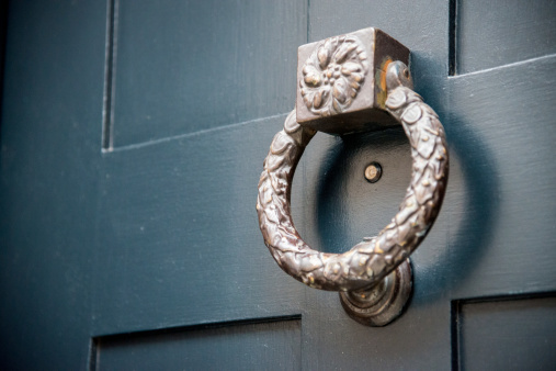 An old metal door knocker in London.