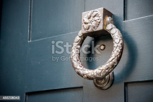 An old metal door knocker in London.