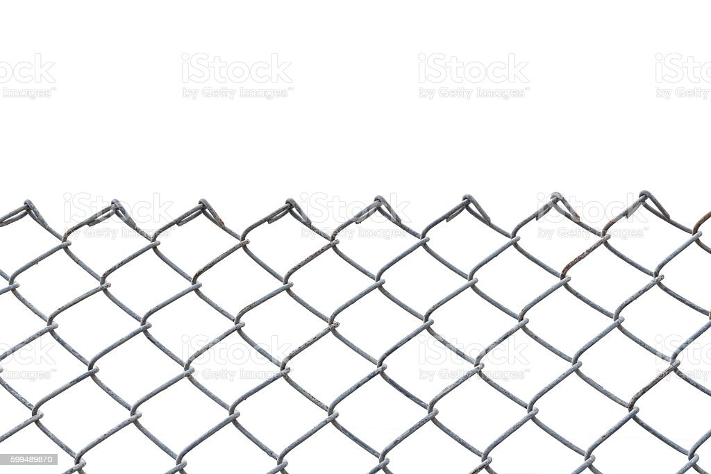 Old metal fence isolated on white stock photo