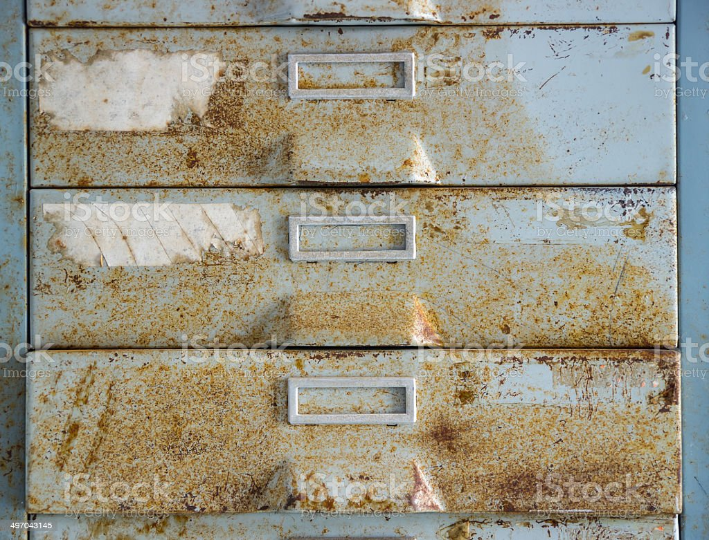 old metal file cabinet stock photo