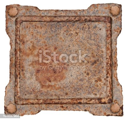1058533662 istock photo Old Metal Frame, isolated on white background. 104697955