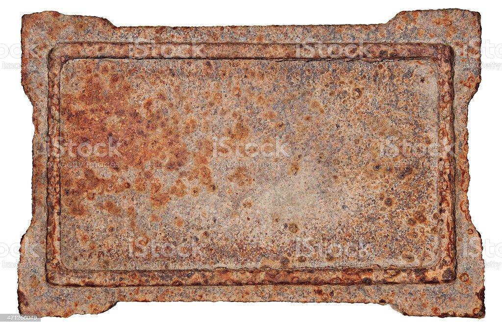 Old metal frame on white background stock photo