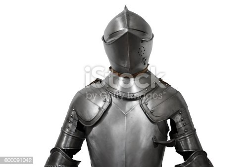 istock Old metal knight armour isolated on white background 600091042