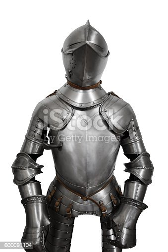 istock Old metal knight armour isolated on white background 600091104