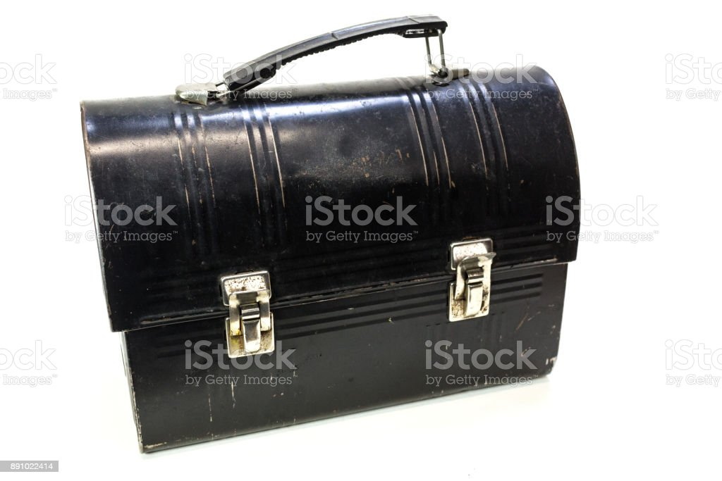 Old metal lunchbox on white stock photo