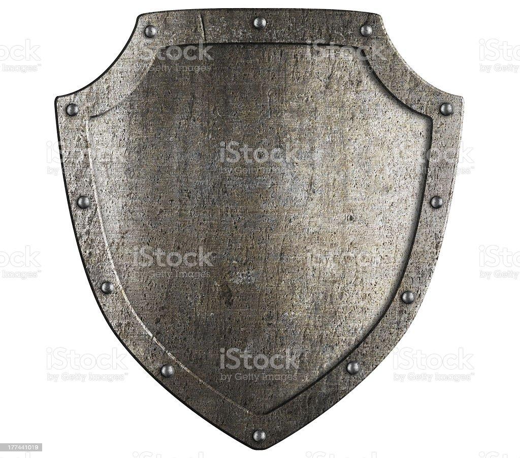 Vieux métal bouclier médiéval. Écusson modèle. - Photo