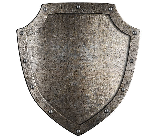 Old metal medieval shield. Crest template. stock photo
