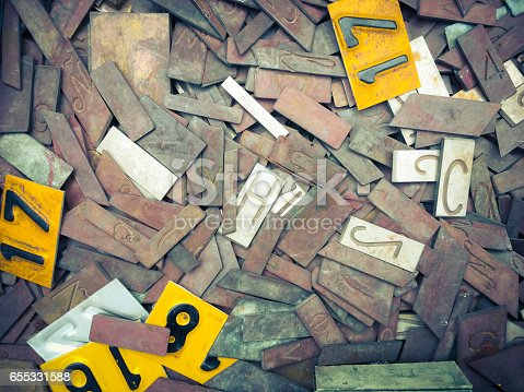 istock old metal numbers and letters 655331588