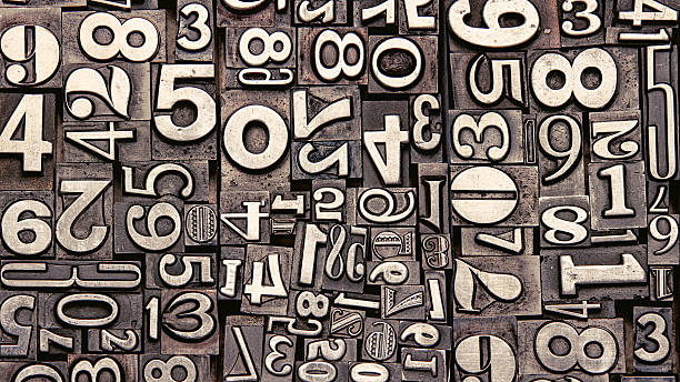 old metal numbers - letterpress stock photos and pictures