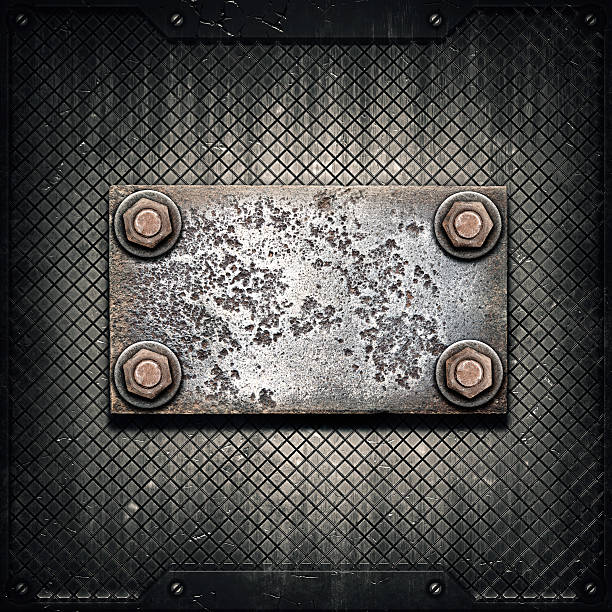 Alte Metall-Teller auf metallic-Wand – Foto