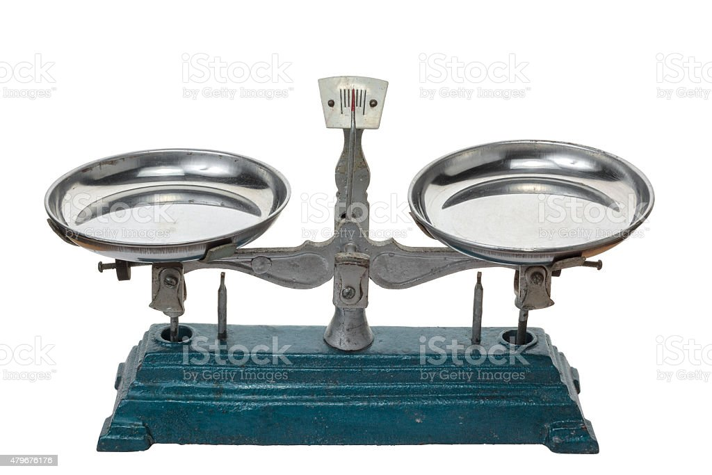 Old metal scale isolated on white background. stock photo