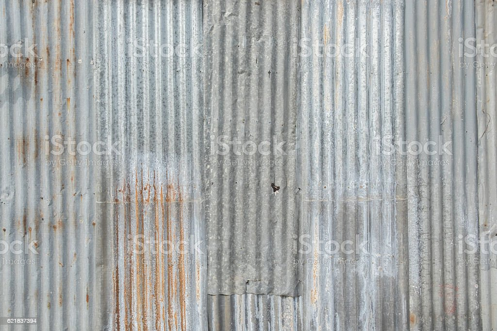 Old metal sheet roof texture. stock photo