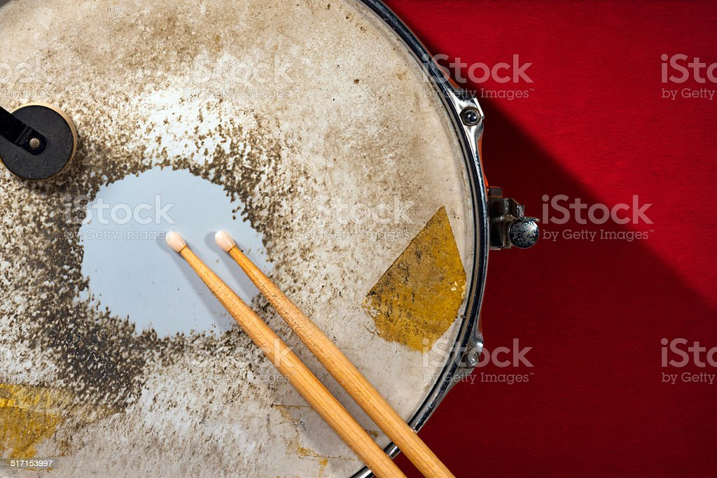 Old Metal Snare Drum with Drumsticks stock photo