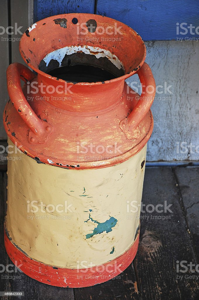 Old metal spittoon stock photo