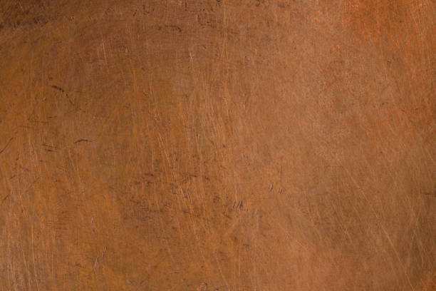 Old metal texture - copper close-up. Background stock photo